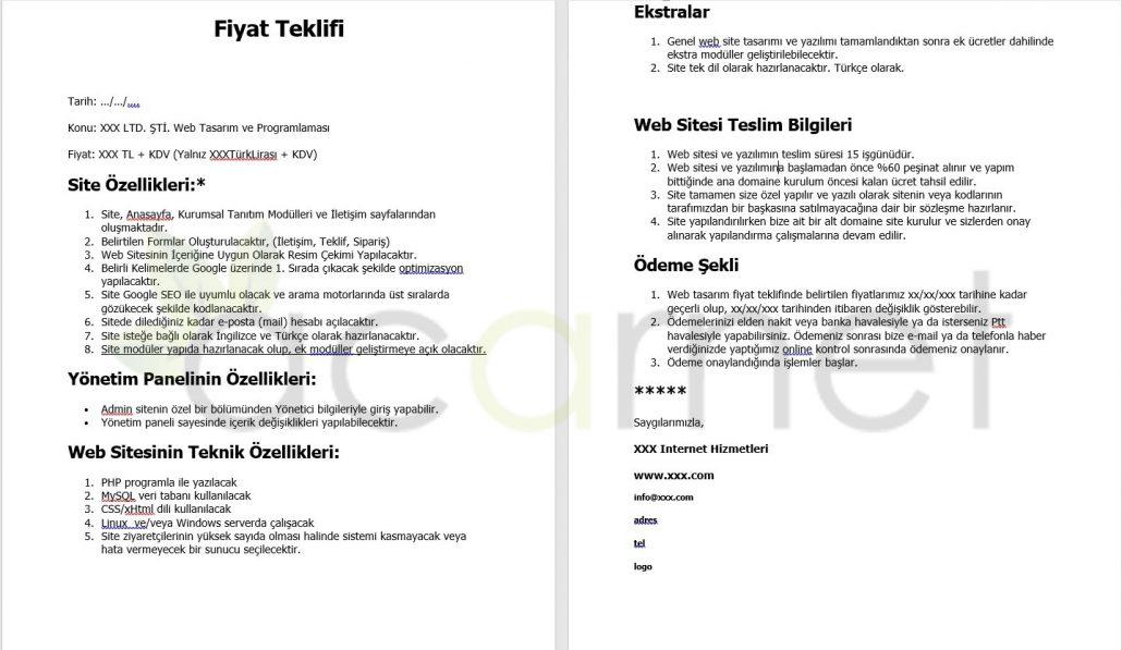 Web Tasarım Fiyat Teklifi Örneği